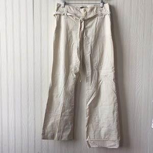 ZARA Tan & White Wide Leg Pants Cotton Size L